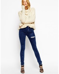 Collection ridley skinny jeans in darla dark acid wash with thigh rip medium 173673