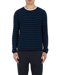 Navy and Green Horizontal Striped Crew-neck Sweater