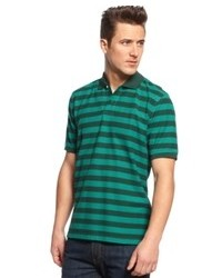 Navy and Green Horizontal Striped Polo