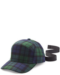 Navy and Green Plaid Cap
