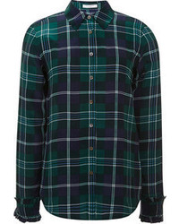 Navy and Green Plaid Dress Shirt