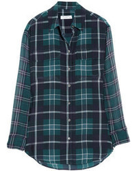Signature plaid washed silk and chiffon shirt medium 66986