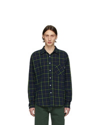 Navy and Green Plaid Flannel Long Sleeve Shirt