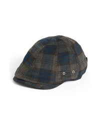 Navy and Green Plaid Flat Cap