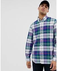 Polo Ralph Lauren Custom Regular Fit Tartan Check Oxford Shirt With In Green