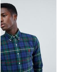 Polo Ralph Lauren Slim Fit Tartan Check Oxford Shirt Player Logo In Navygreen
