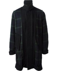 Navy and Green Plaid Overcoat