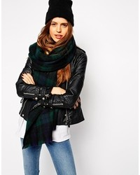 Oversized scarf in green tartan check medium 143979