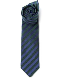 Navy and Green Vertical Striped Tie