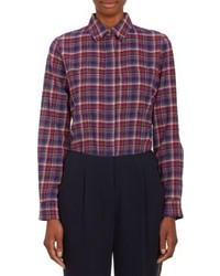 Navy and Red Plaid Dress Shirt