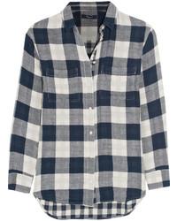 Checked cotton flannel shirt navy medium 455541