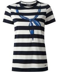 Salvatore Ferragamo Striped Bow Detail T Shirt