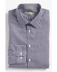 Navy and White Gingham Dress Shirt