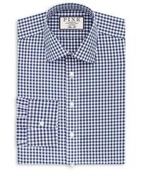 Thomas Pink Big Tall Slim Fit Gingham Dress Shirt Size 175 Blue