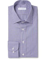 Etro Blue Slim Fit Checked Cotton Shirt