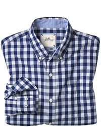 Navy and White Gingham Long Sleeve Shirt