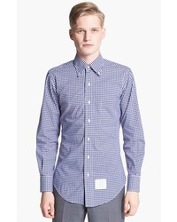 Thom Browne Gingham Shirt With Grosgrain Placket Navy White 5