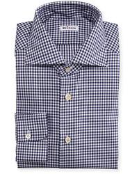Kiton Wear Unbalanced Gingham Woven Dress Shirt Navy