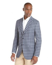 Navy and White Gingham Wool Blazer