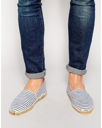 Asos Brand Canvas Espadrilles With Stripe