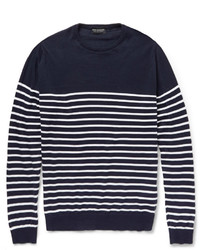 Navy and White Horizontal Striped Crew-neck Sweater