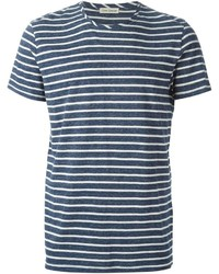 Navy and White Horizontal Striped Crew-neck T-shirt