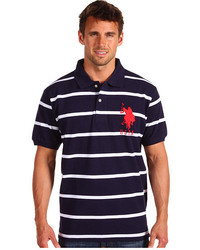 Navy and White Horizontal Striped Polo