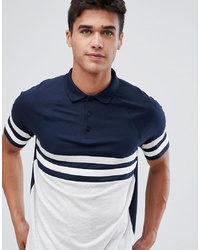 ASOS DESIGN Polo Shirt With Contrast Body And Sleeve Panels In Interest Fabric In Navy