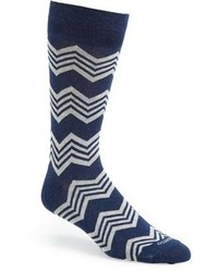 Navy and White Horizontal Striped Socks