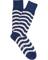 Paul Smith Wavy Striped Cotton Blend Socks