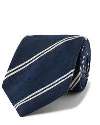 Kingsman Drakes 8cm Striped Slub Silk Tie