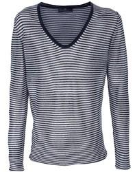 Navy and White Horizontal Striped V-neck Sweater
