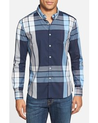 Blue republic trim fit plaid woven shirt medium 383503