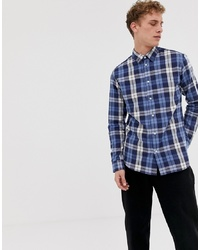 Selected Homme Regular Fit Checked Shirt In Navy