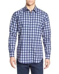Shaped fit plaid sport shirt medium 383502