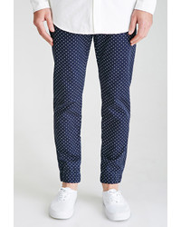 Navy and White Polka Dot Dress Pants