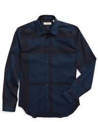 London southbrook trim fit long sleeve dot print sport shirt medium 412746