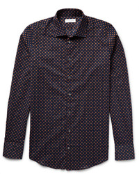 Slim fit polka dot cotton poplin shirt medium 412740