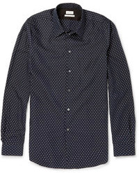Navy and White Polka Dot Long Sleeve Shirt