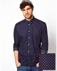 Jeans shirt with polka dot in tailored fit medium 20473