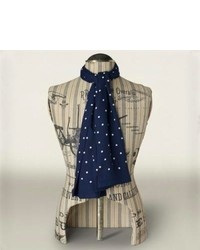 Navy and White Polka Dot Scarf