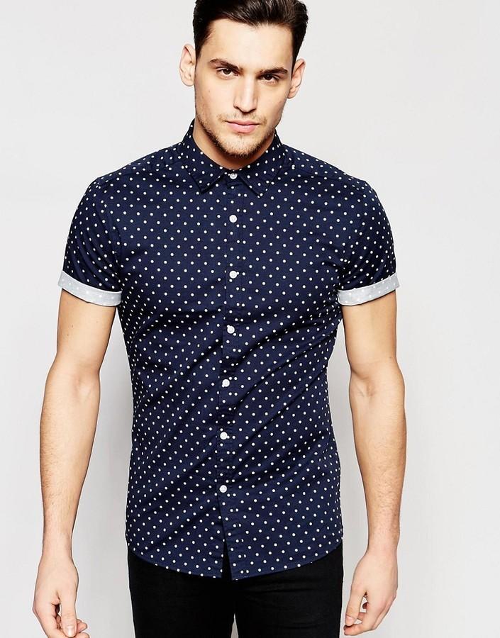 ... Asos ASOS BRAND ASOS Skinny Polka Dot Shirt In Navy With Short Sleeves
