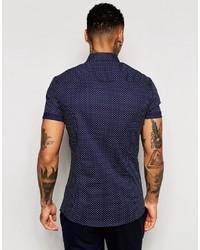 3b46b7617577 ... Asos Brand Skinny Shirt In Navy Polka Dot With Short Sleeves ...