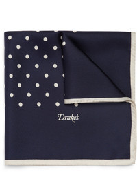 Navy and White Polka Dot Silk Pocket Square