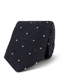 Drake's 8cm Embroidered Polka Dot Slub Silk Tie