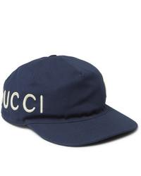 Gucci Embroidered Cotton Twill Baseball Cap