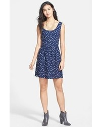 Be Bop Bebop Heart Print Fit Flare Dress Navy White Medium