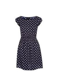 New Look Navy Heart Print Cap Sleeve Dress
