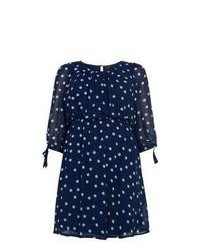 Exclusives New Look Inspire Navy Spot Print Longsleeve Dress
