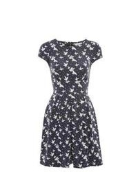 Closet New Look Navy And White Bird Print Dress